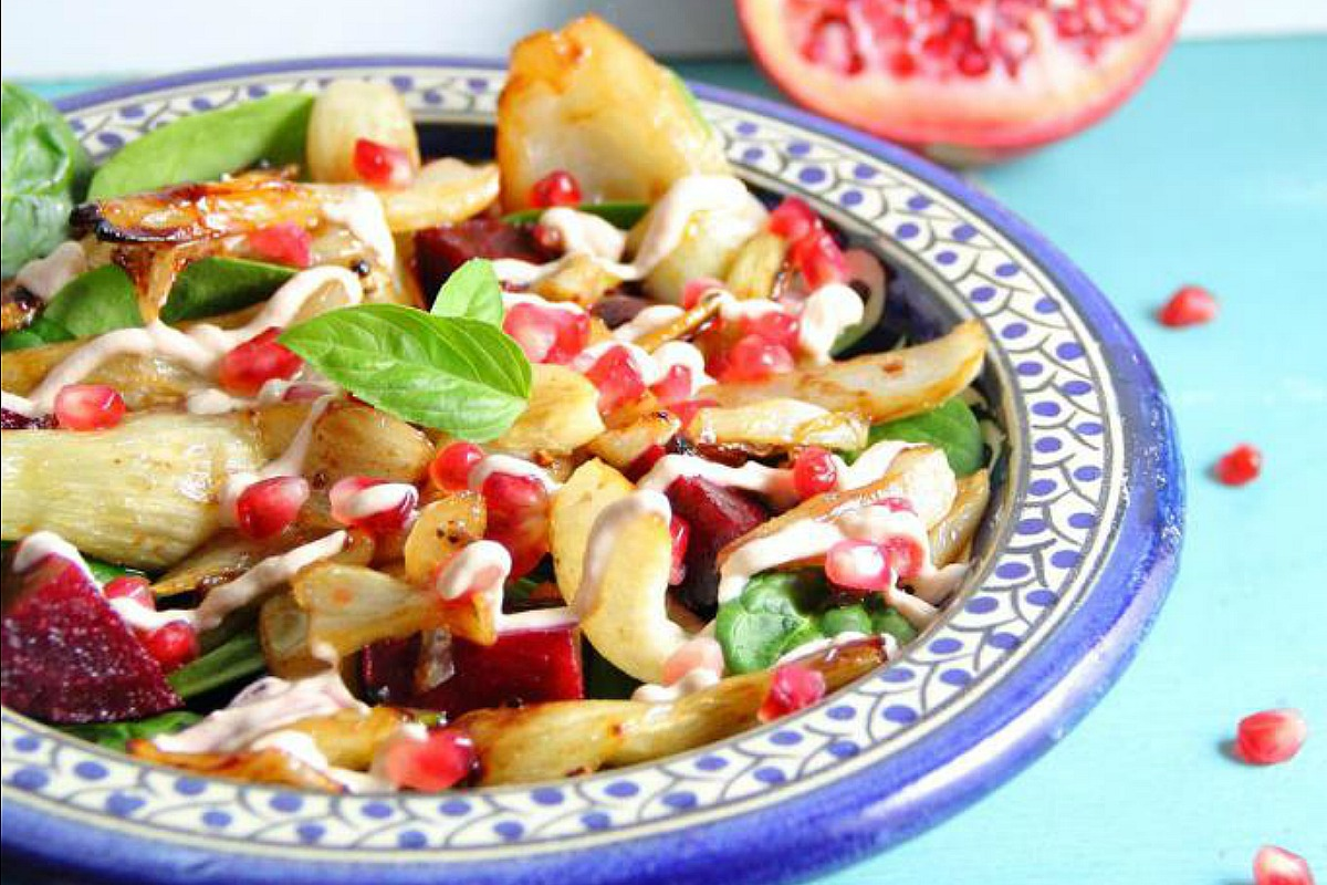 Warm Fennel and Pomegranate Salad [Vegan, Gluten-Free]