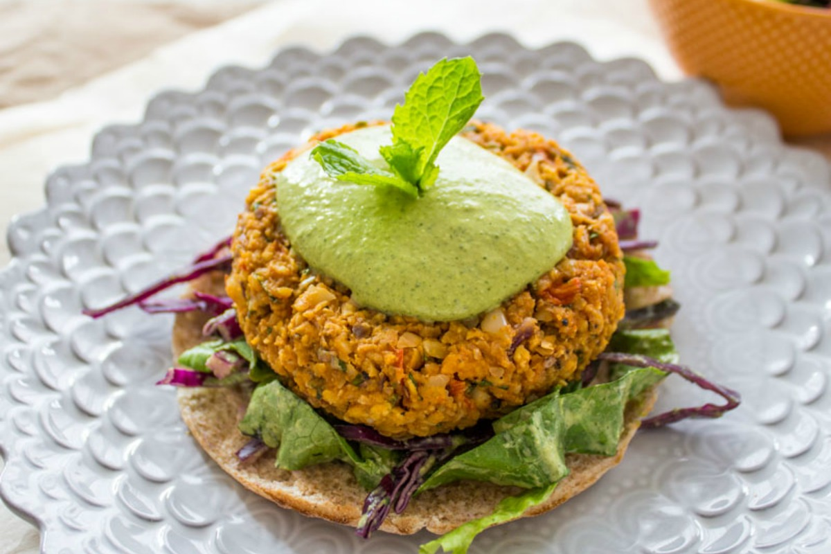Sweet Potato Burgers With Green Tahini [Vegan, Gluten-Free]