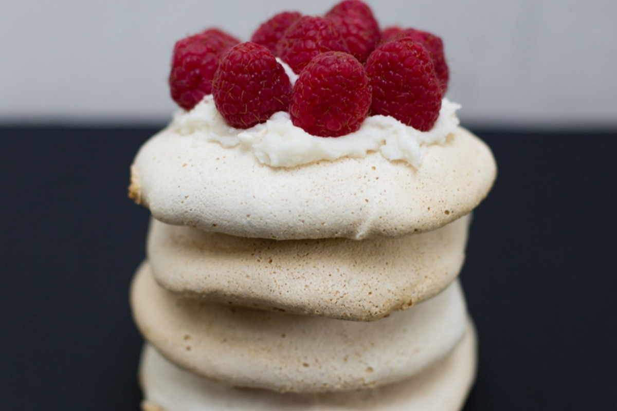 Mini Vanilla Bean Pavlovas With Coconut Whip and Raspberries [Vegan, Gluten-Free]