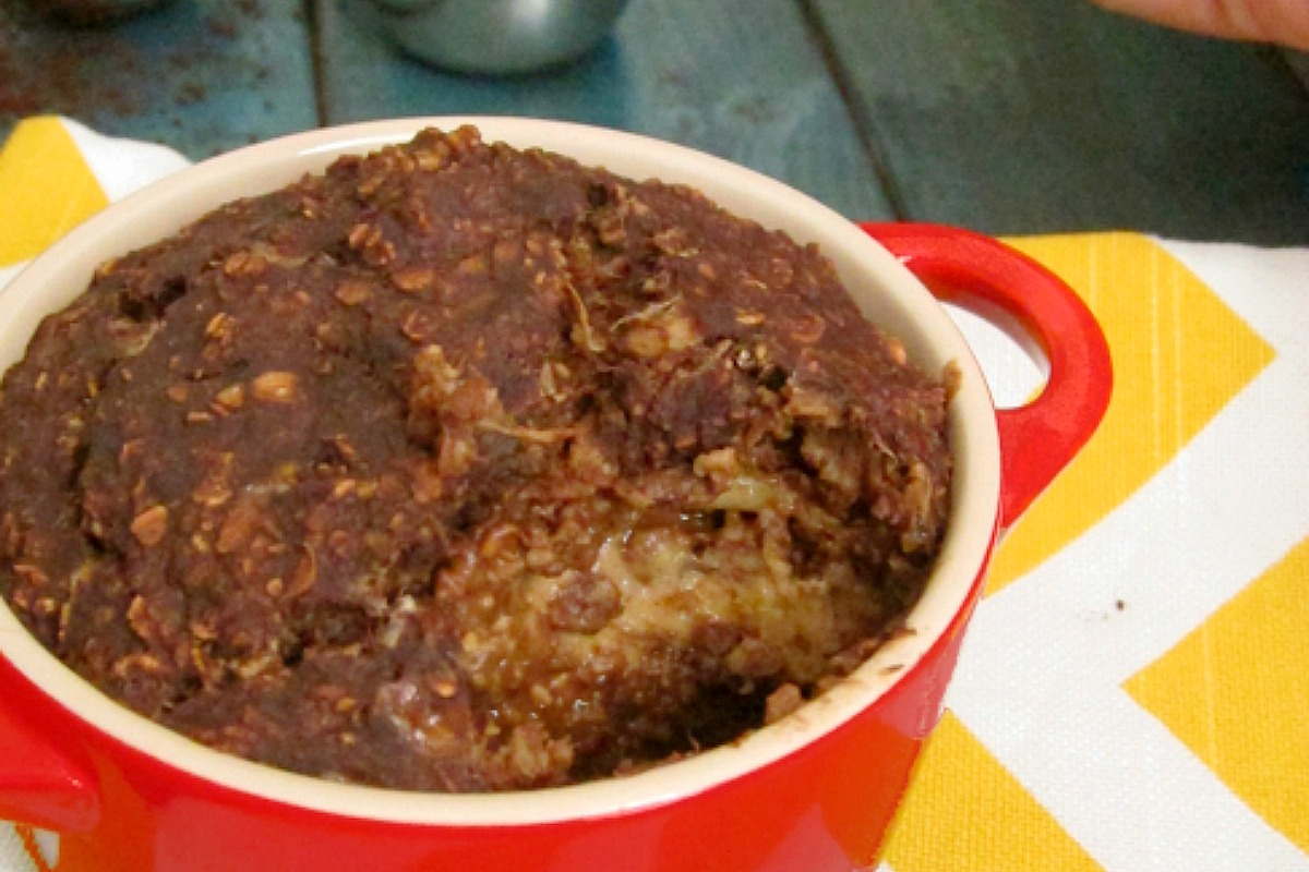 Mocha Baked Oatmeal With Almond Butter Center [Vegan, Gluten-Free]