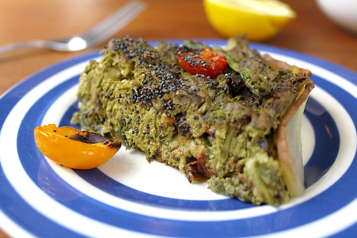 Basil and Walnut Pesto Quiche [Vegan, Gluten-Free]