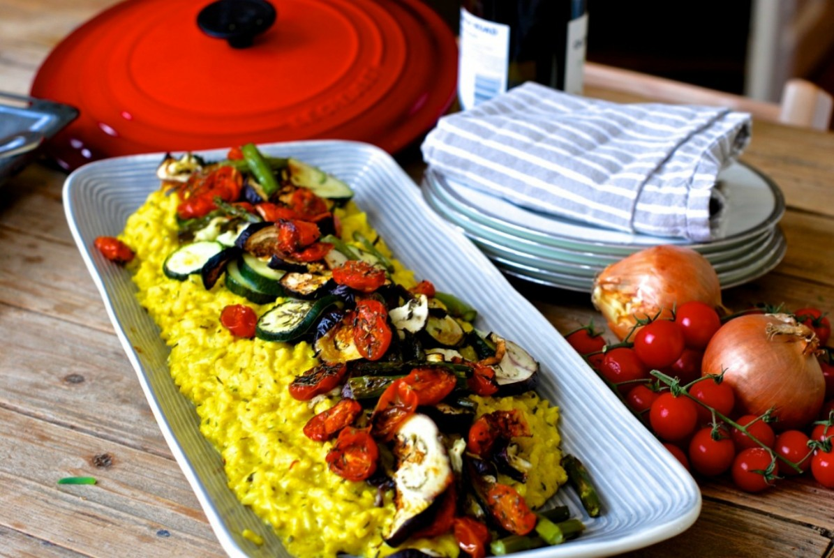 Saffron Risotto With Roasted Vegetables [Vegan, Gluten-Free]