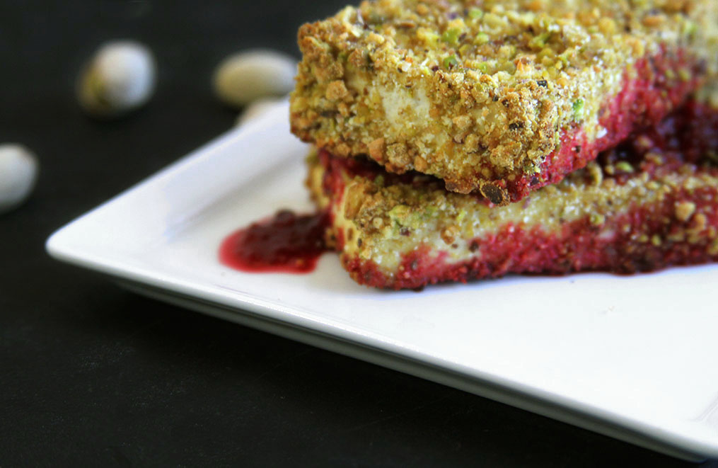 Pisatchio Crusted Tofu With a Prickly Pear Sauce [Vegan, Gluten-Free]