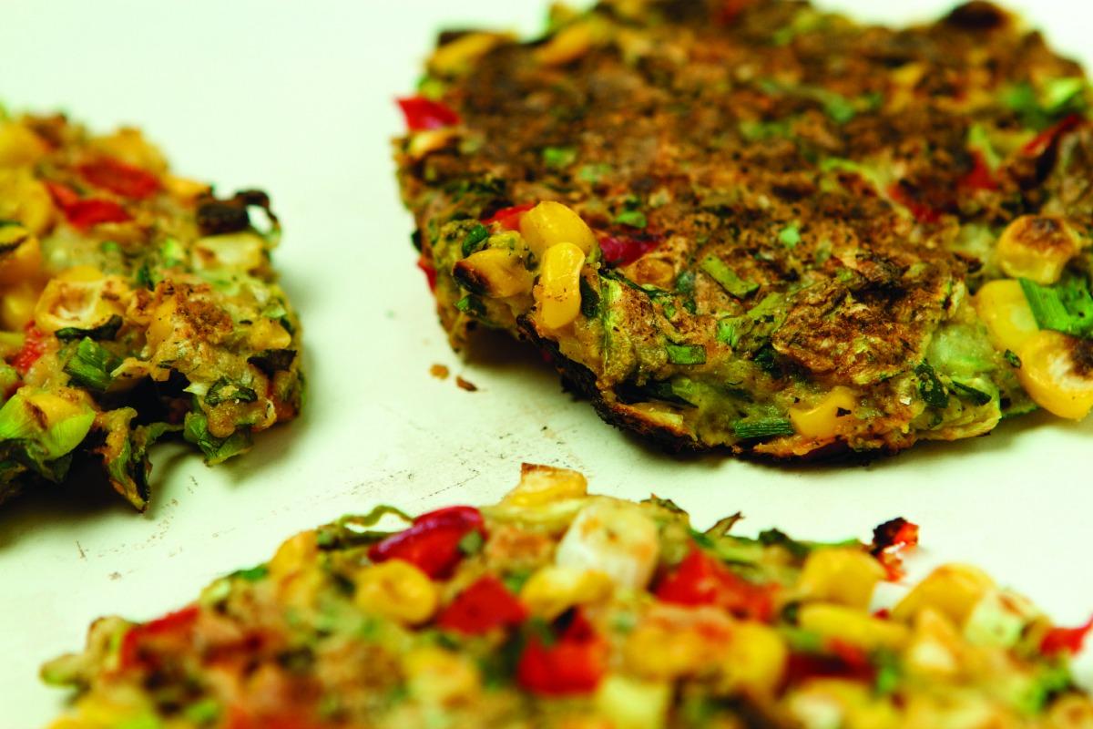 Zucchini, Corn and Red Pepper Pancakes [Vegan]