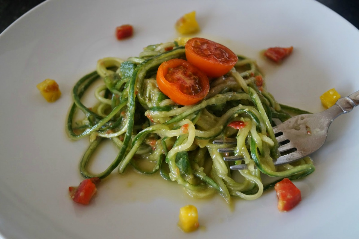 Cucumber Noodles With Avocado Pepper Sauce [Vegan, Raw, Gluten-Free]