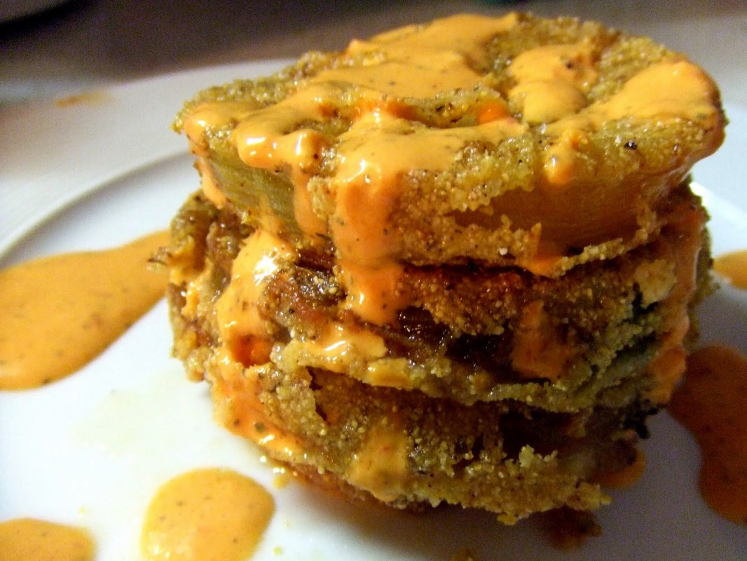 fried-green-tomatoes-with-red-pepper-sauce-1066x800