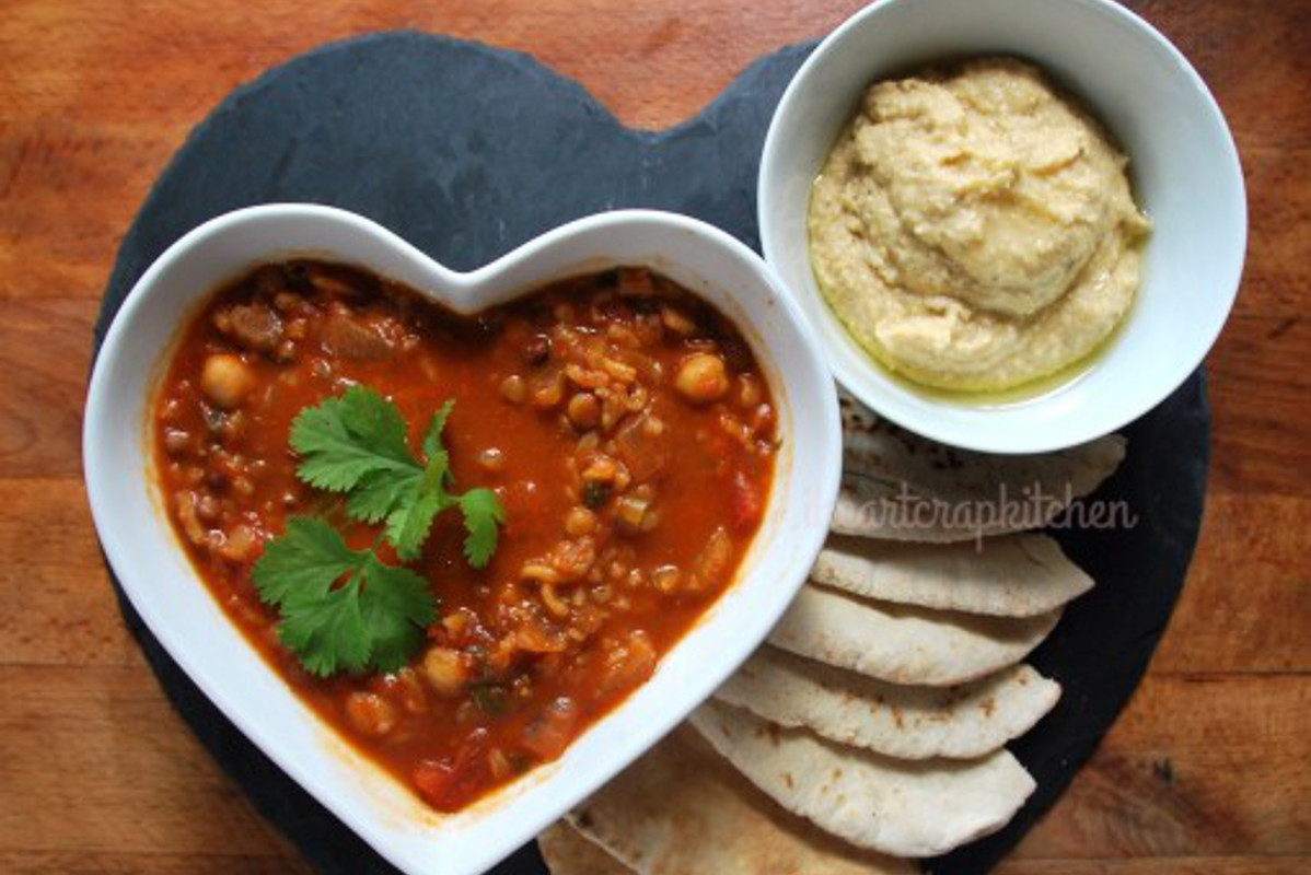 Harira Soup With Hummus Pitas [Vegan]