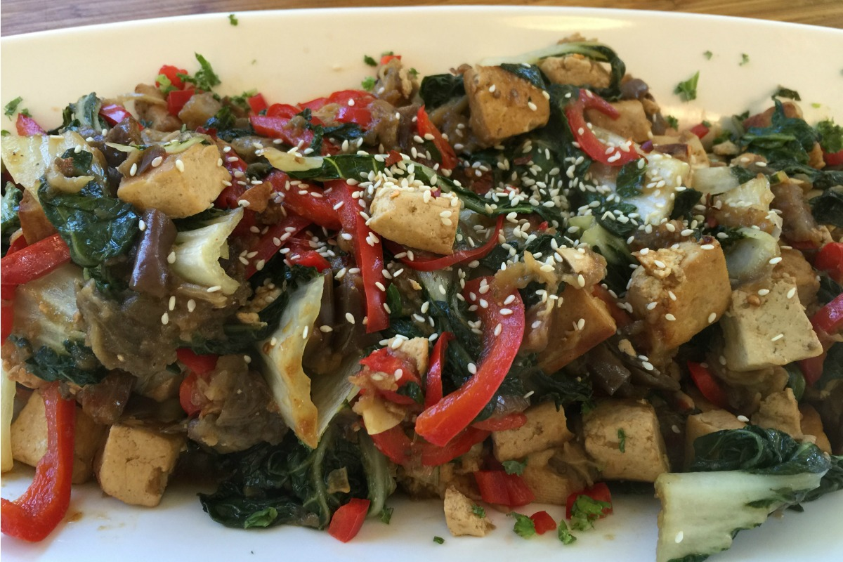 Seared Asian Tofu With Chinese Eggplant and Baby Bok Choy