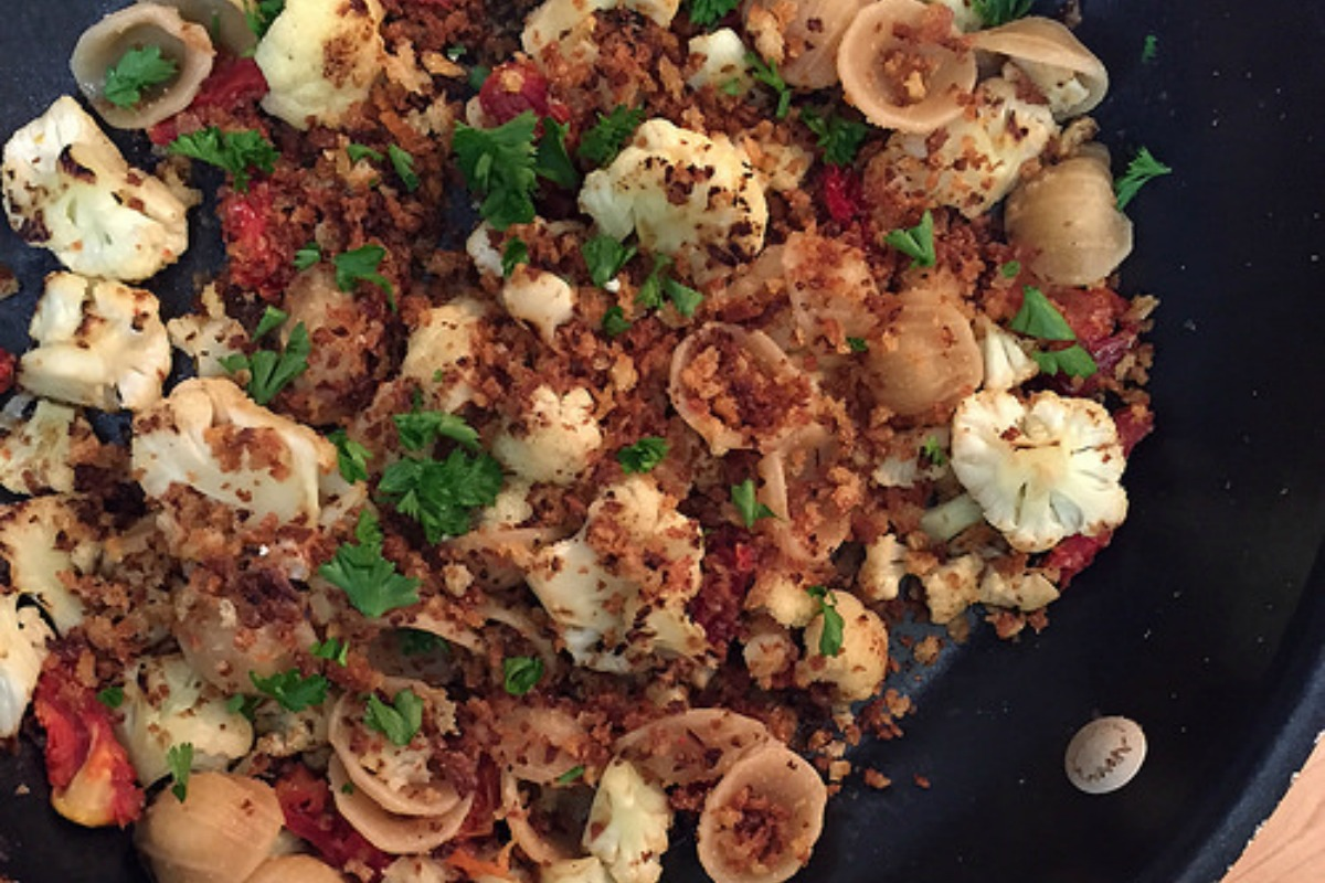 Orecchiette With Cauliflower, Breadcrumbs and Sun Dried Tomatoes