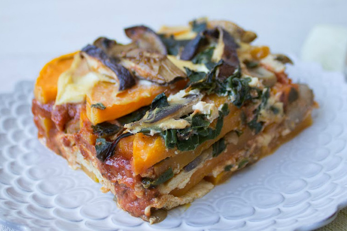 Butternut Squash and Swiss Chard Lasagna [Vegan, Gluten-Free]