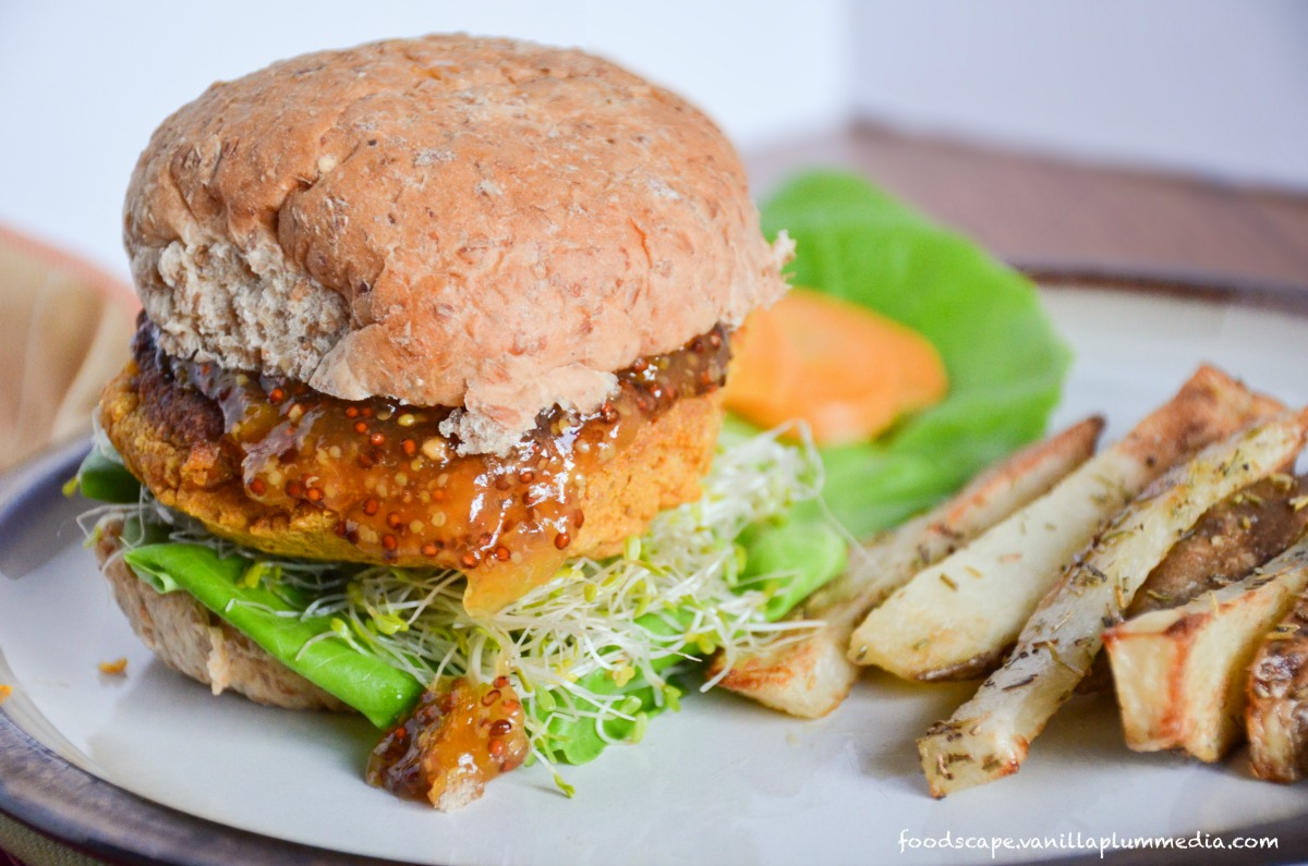Sweet Potato Chickpea Burger With Apricot Mustard and Rosemary Fries [Vegan]