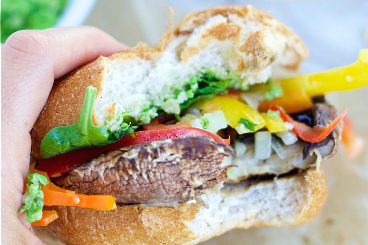 Clean Eating Portobello Burgers With Pea Pesto [Vegan, Gluten-Free]