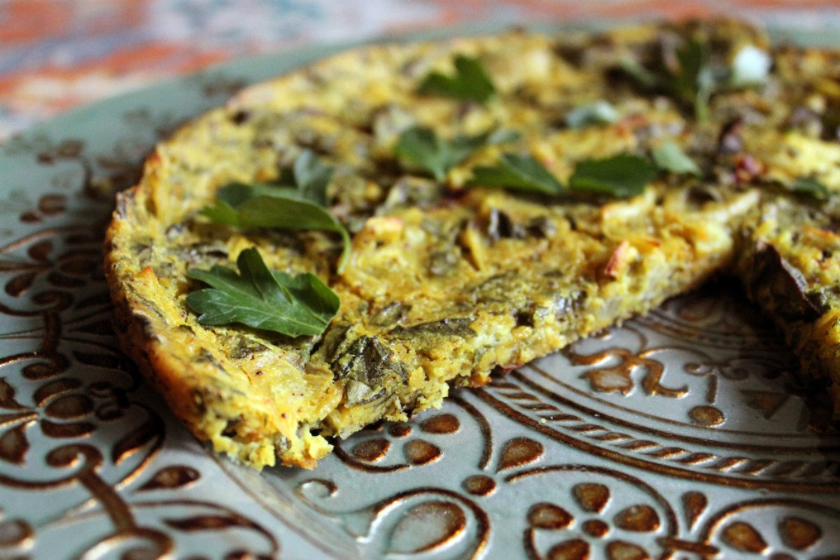 Baked Spinach and Herb Frittata [Vegan, Gluten-Free]