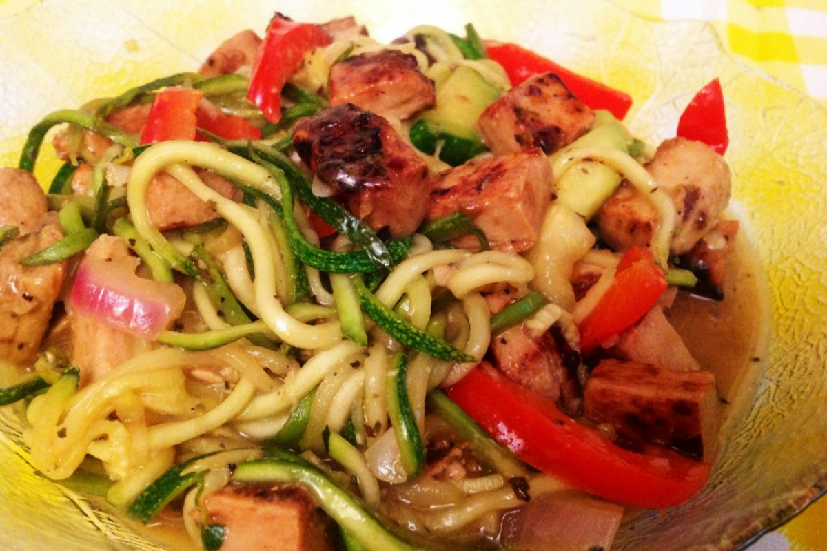 Vegan Orange 'Chicken' With Zucchini Noodles