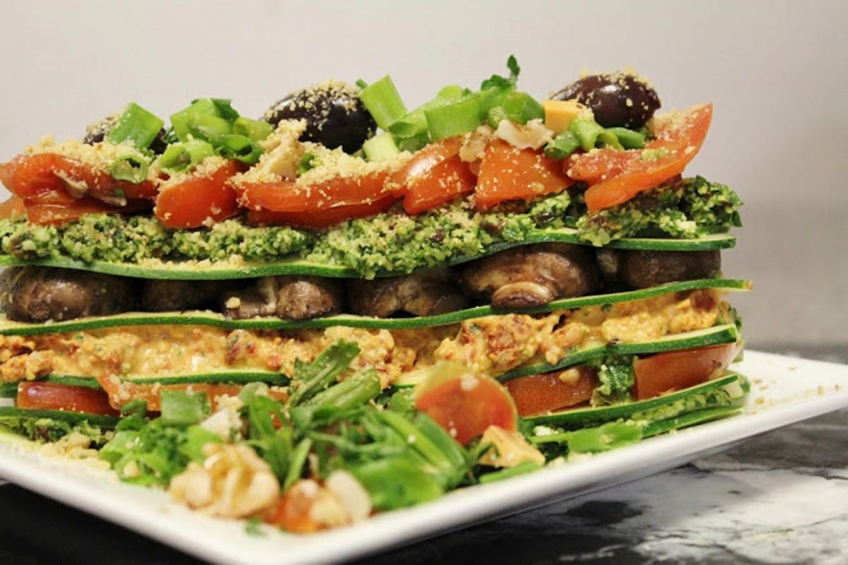 raw lsagna with cilantro pesto