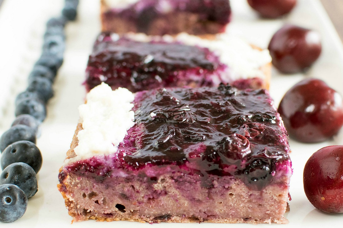 Cherry Oats Squares With Macadamia Nut Icing and Blueberry Sauce [Vegan, Gluten-Free]