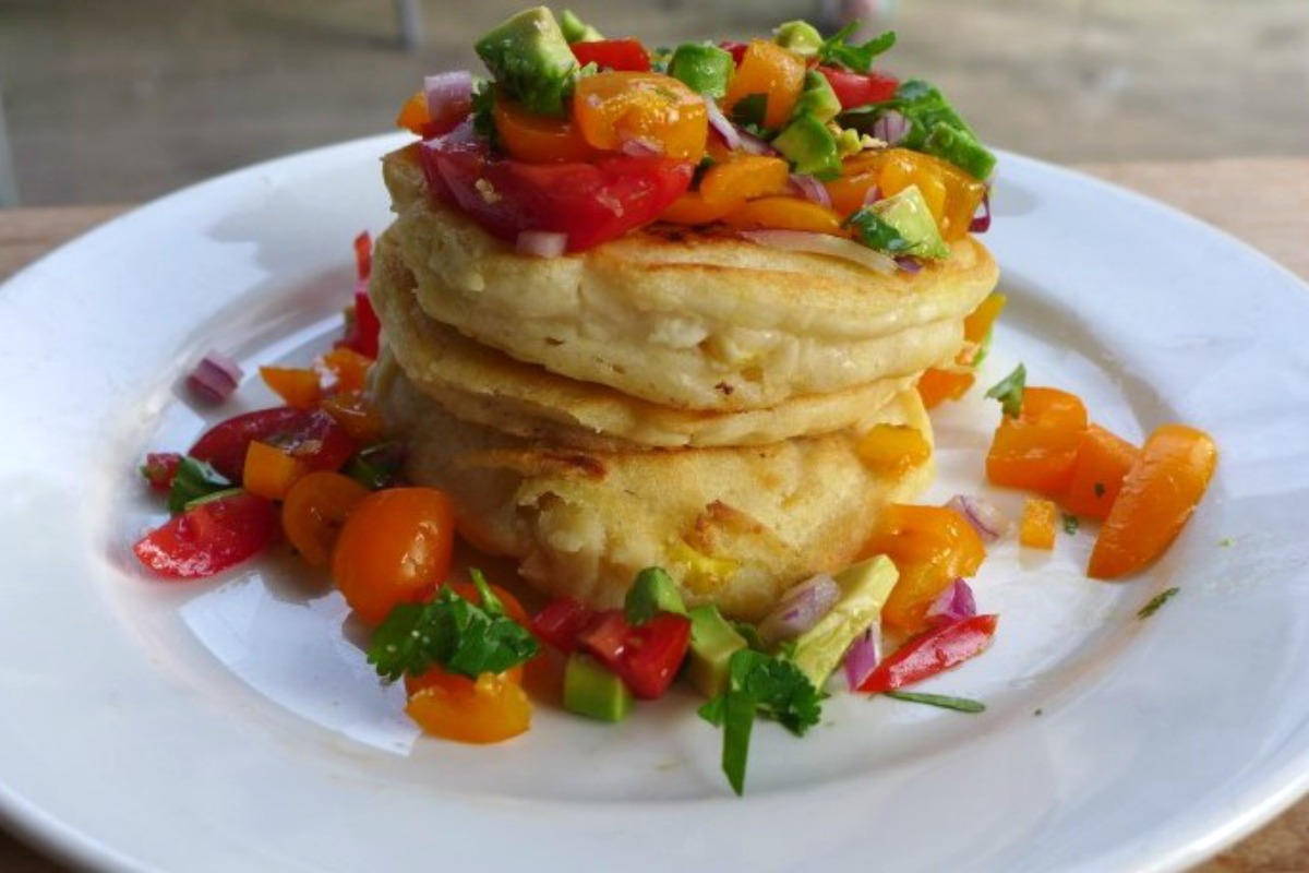 Mexican Corn Pancakes With Homemade Salsa [Vegan]