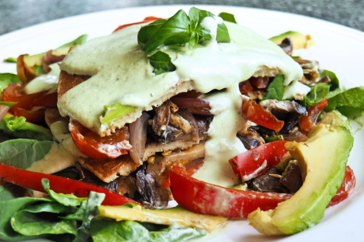 Savory Pancake Stack With Pine Nut Cream [Vegan, Gluten-Free]