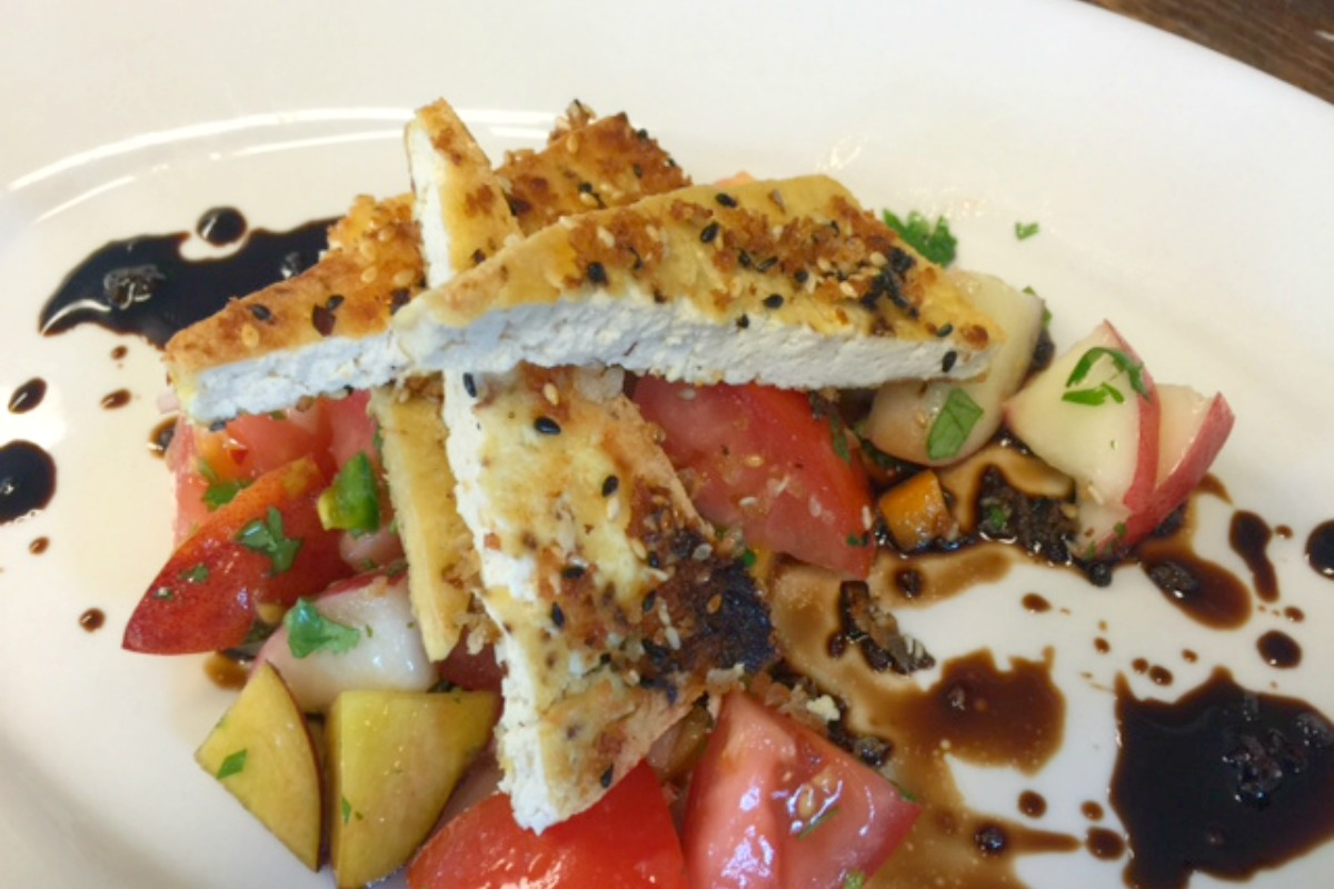 Black and White Sesame Crusted Tofu Over Peach and Tomato Salad With Balsamic Glaze [Vegan, Gluten-Free]