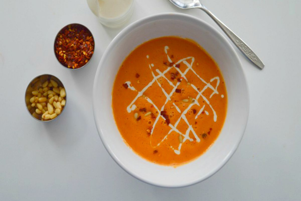 Creamy Roasted Red Pepper Soup With Lemon Cashew Cream [Vegan, Gluten-Free]