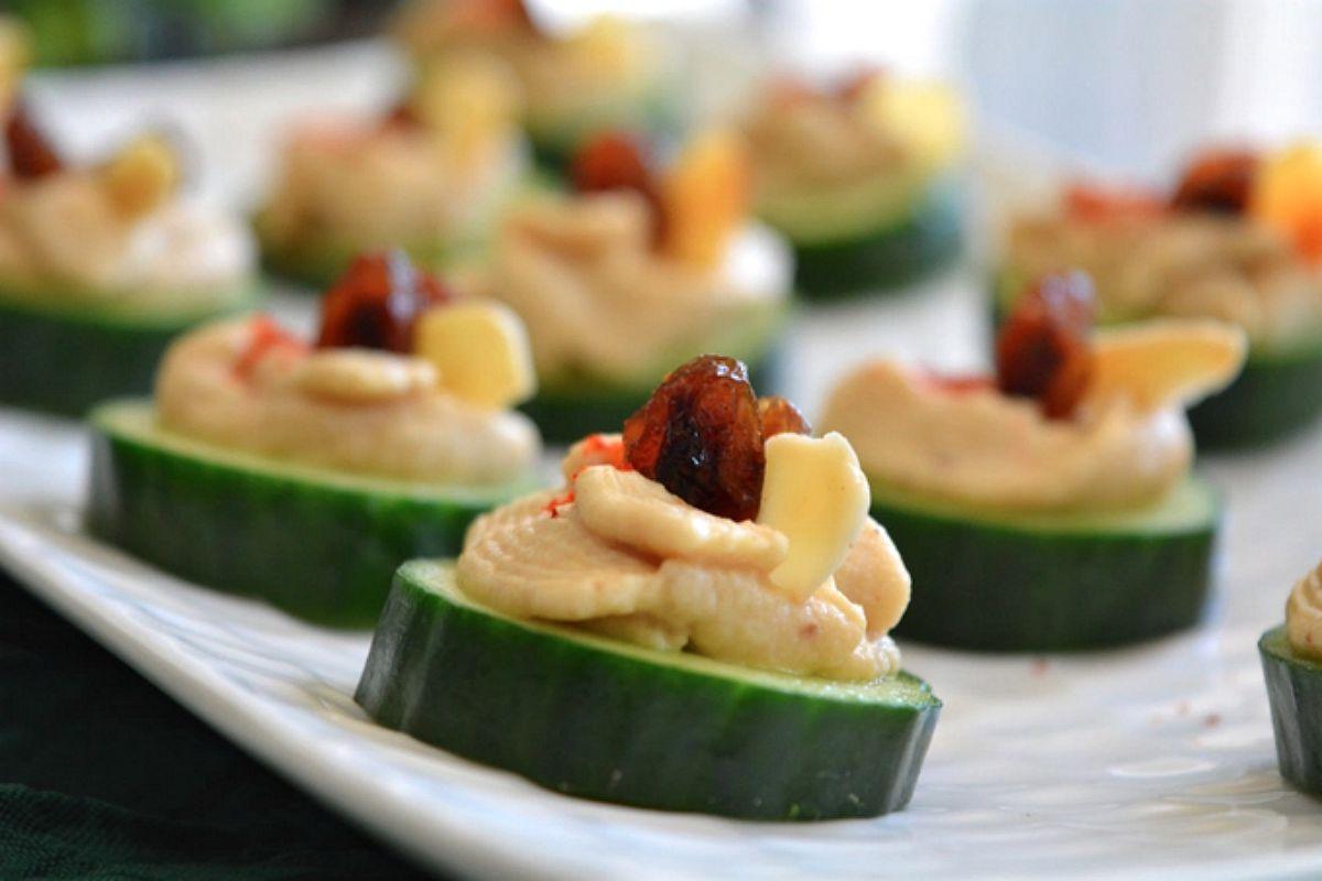 Cucumber Hummus Canapé [Vegan, Gluten-Free]