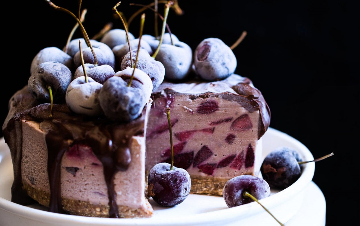 No-Bake Cherry Chocolate Cheesecake [Vegan, Gluten-Free]