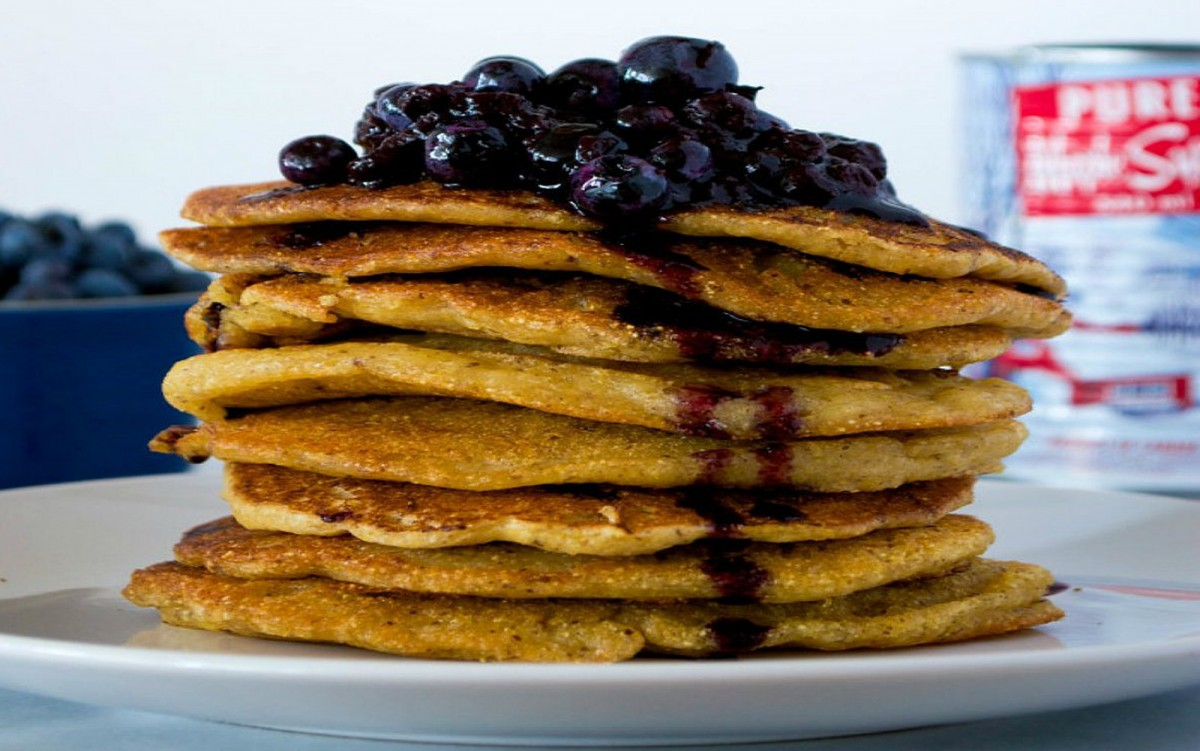Crispy Cornmeal Pancakes With Blueberry Sauce [Vegan, Gluten-Free]