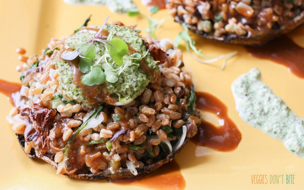 Stuffed Portobello Mushrooms With Maple Miso Balsamic Sauce [Vegan, Oil-Free]