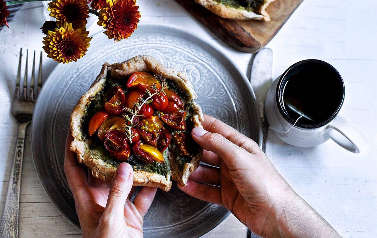 Tomato and Chard Pesto Galette [Vegan]