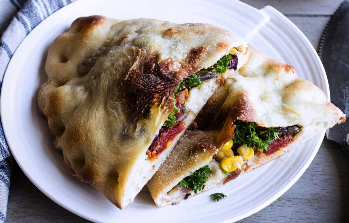 Hummus and Veggie-Stuffed Calzone [Vegan]