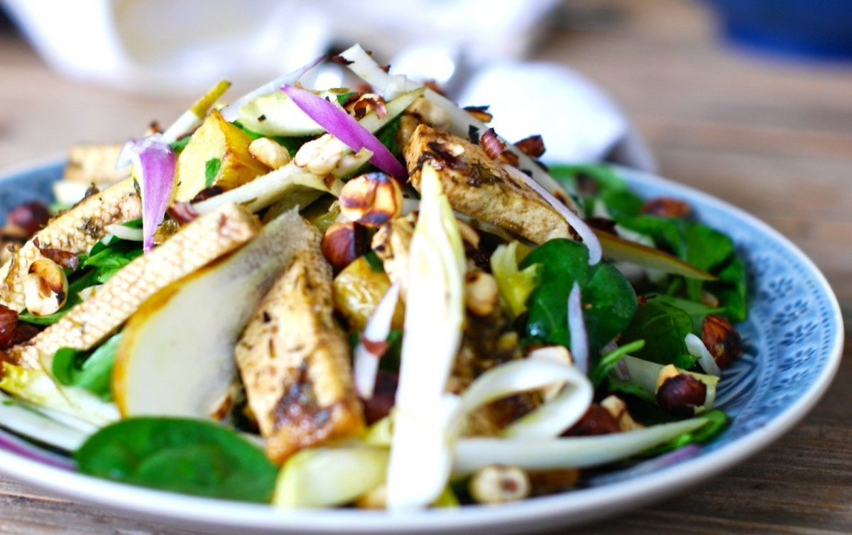 Warm Salad With Marinated Tofu, Potatoes, and Hazelnuts [Vegan, Gluten-Free]