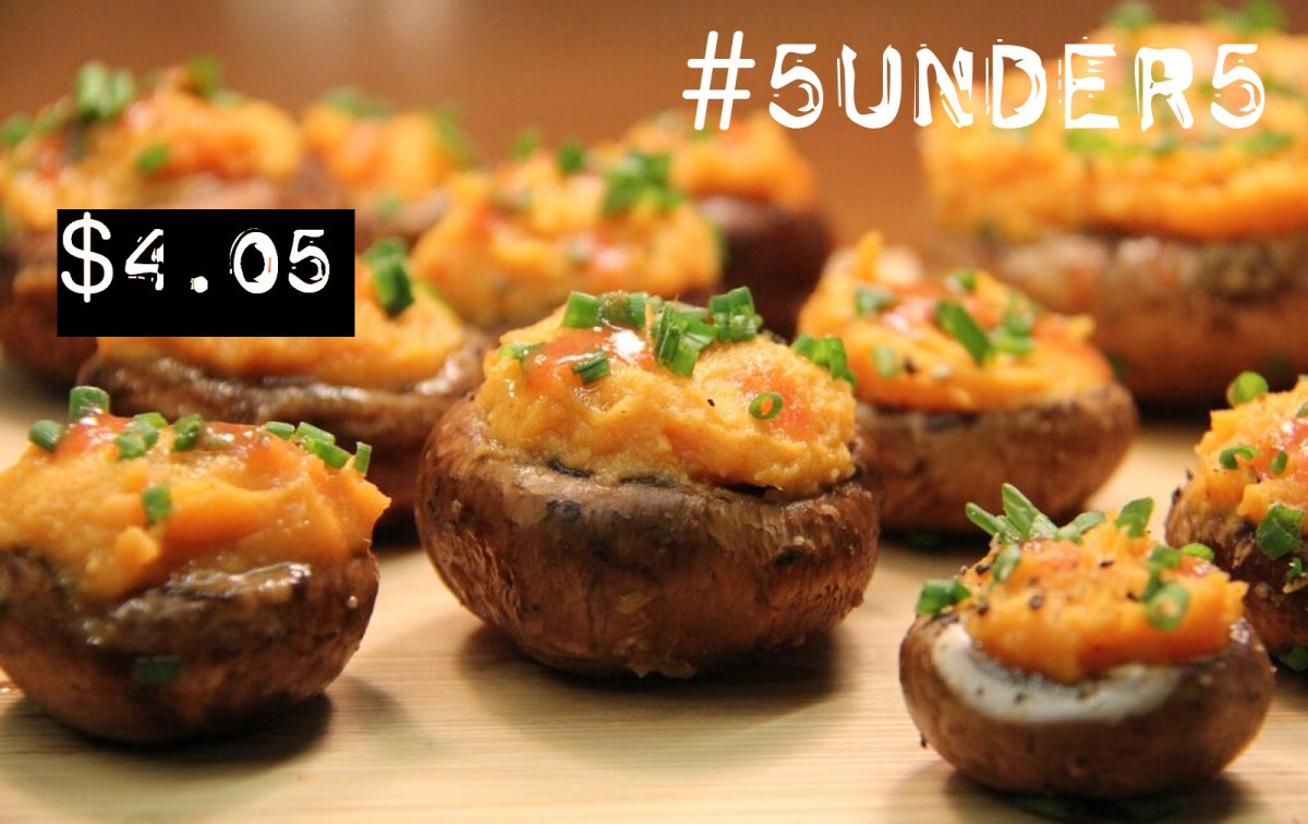 #5under5: Buffalo Sweet Potato Stuffed Mushrooms [Vegan, Gluten-Free]