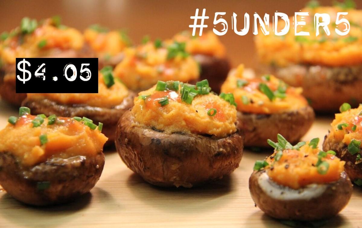 #5under5: Buffalo Sweet Potato Stuffed Mushrooms [Vegan, Gluten-Free]