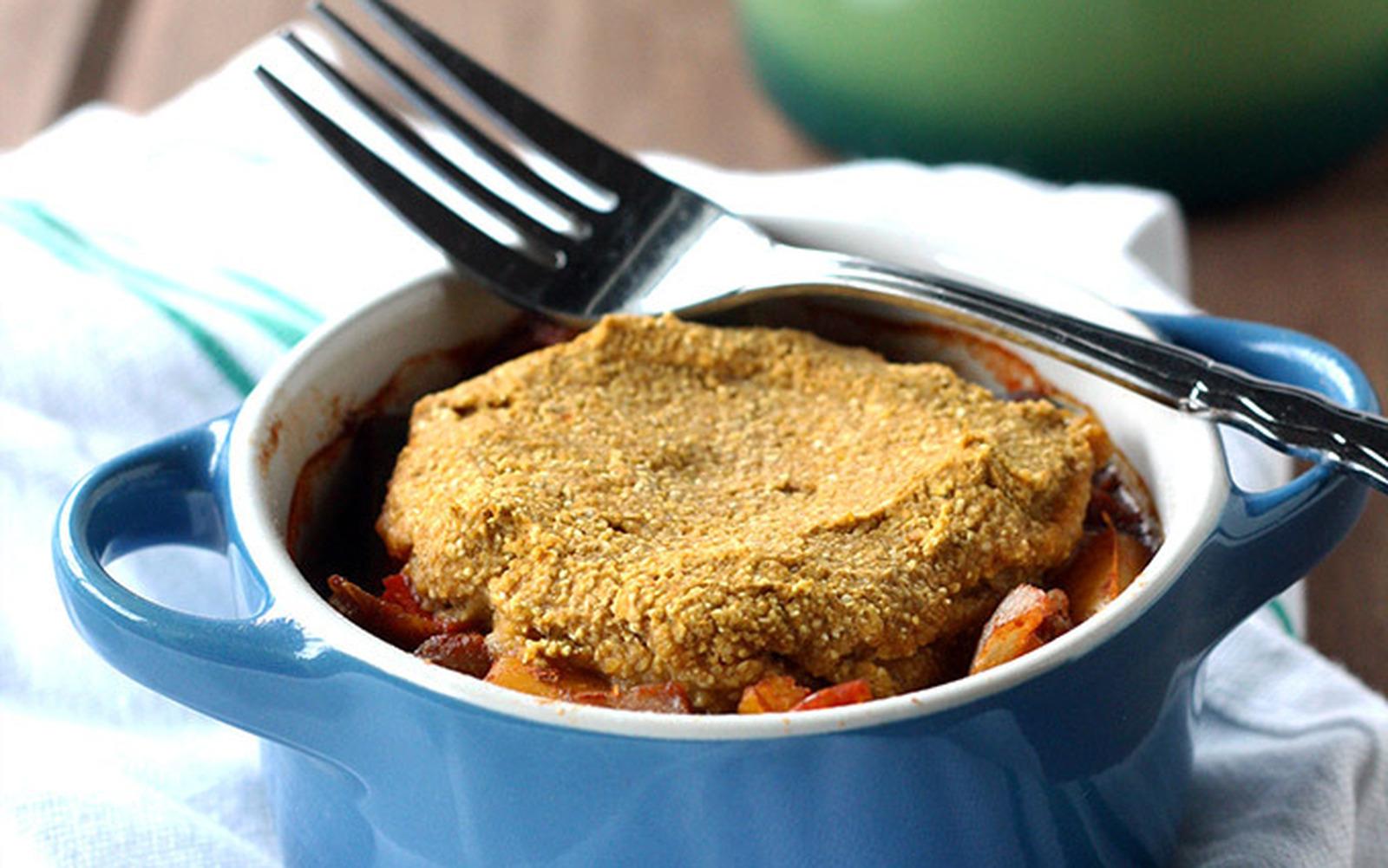 Lentil Chili Pot Pie with Pumpkin Cornbread Topping [Vegan, Gluten-Free]