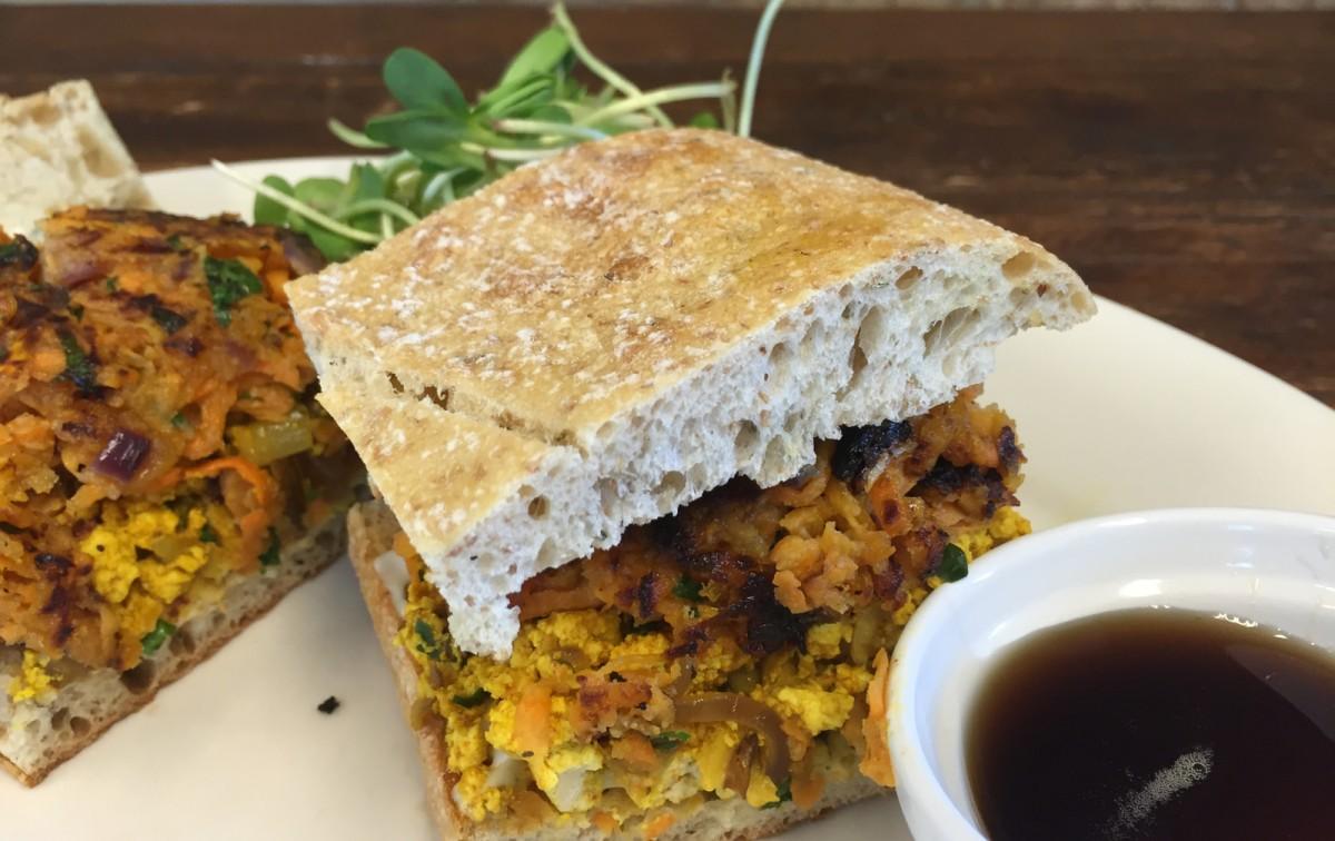 Shiitake and Tofu Breakfast Sandwich with Crispy Sweet Potatoes and Roasted Garlic Aioli [Vegan]