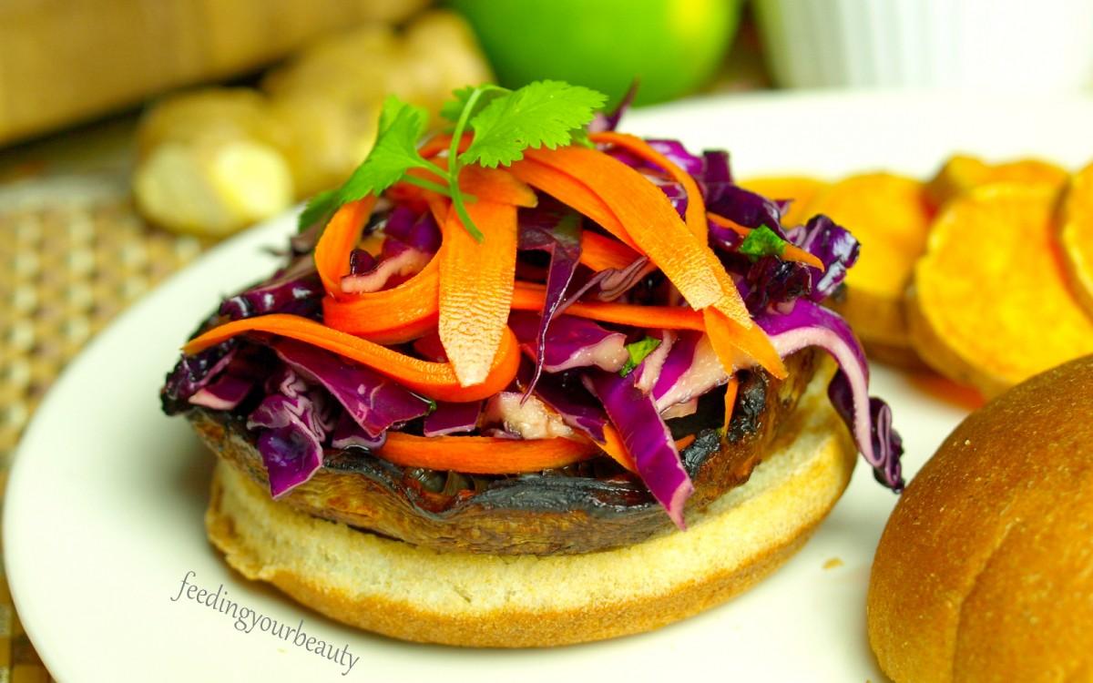 Sesame Ginger Marinated Portobello Burgers With Asian Slaw [Vegan, Gluten-Free]