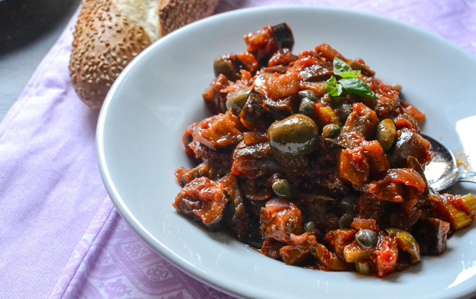 Caponata Siciliana (Sicilian Eggplant Antipasto) [Vegan, Gluten-Free]