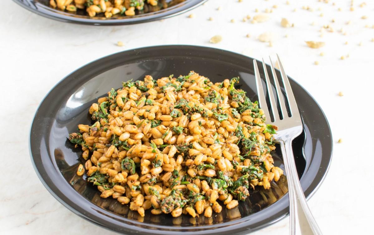 Masala Spinach Farro [Vegan]