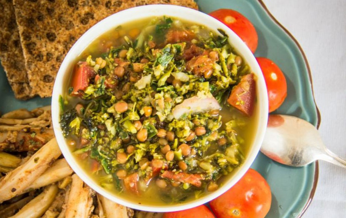 Broccoli Lentil Soup With Berry Tahini Asparagus Spears [Vegan, Gluten-Free]