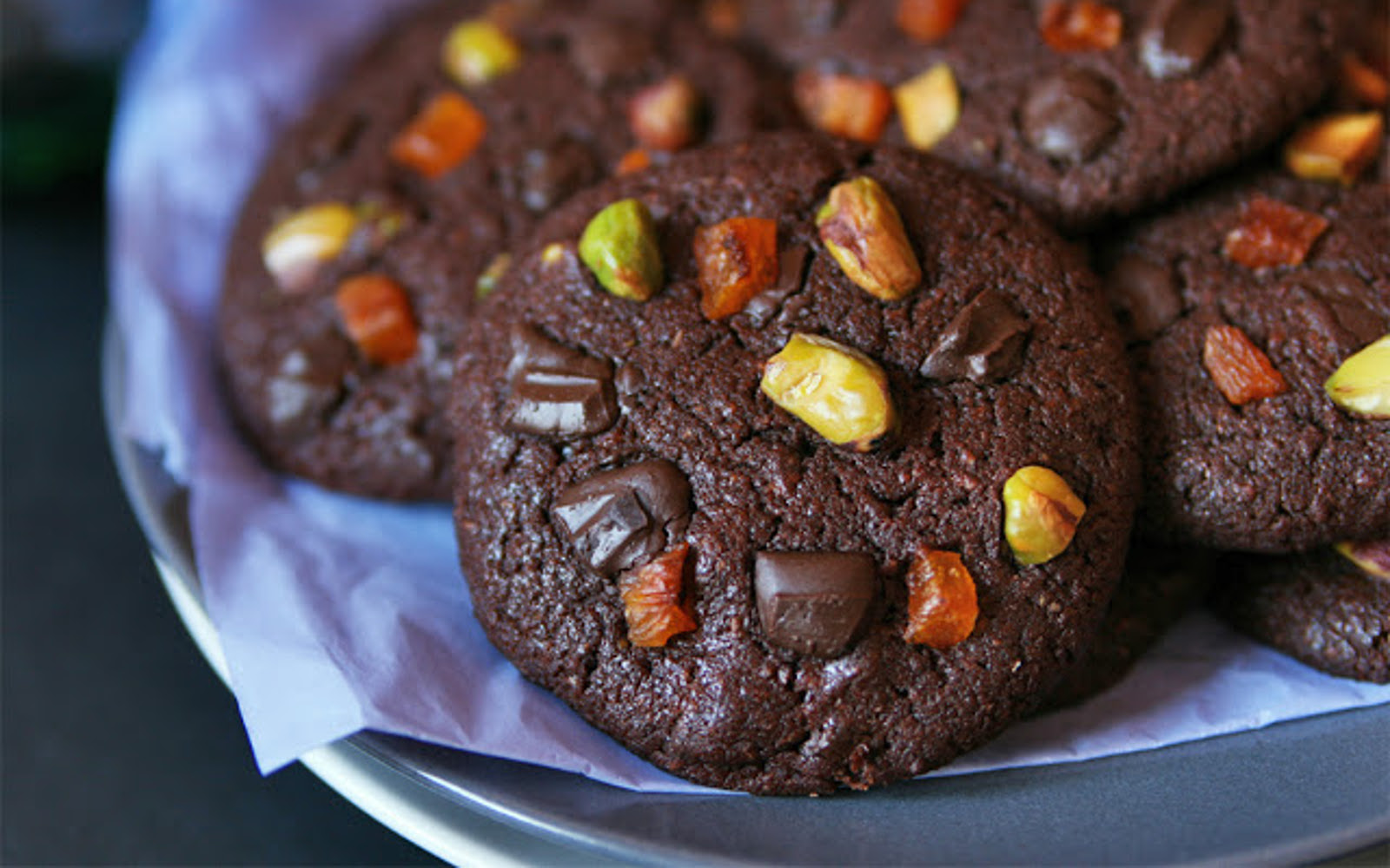Chocolate Cookies With Apricot, Pistachios, and Chocolate Chips