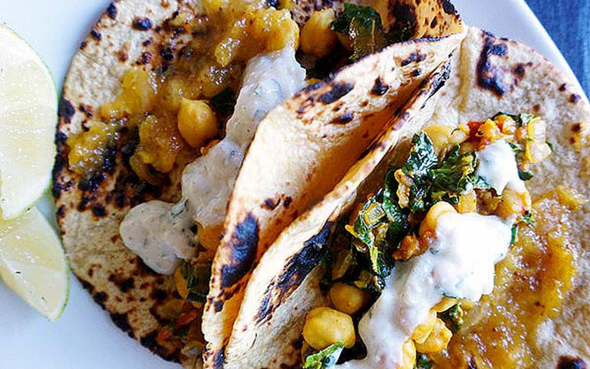 Indian Chickpea Tacos With Cucumber Raita [Vegan, Gluten-Free]