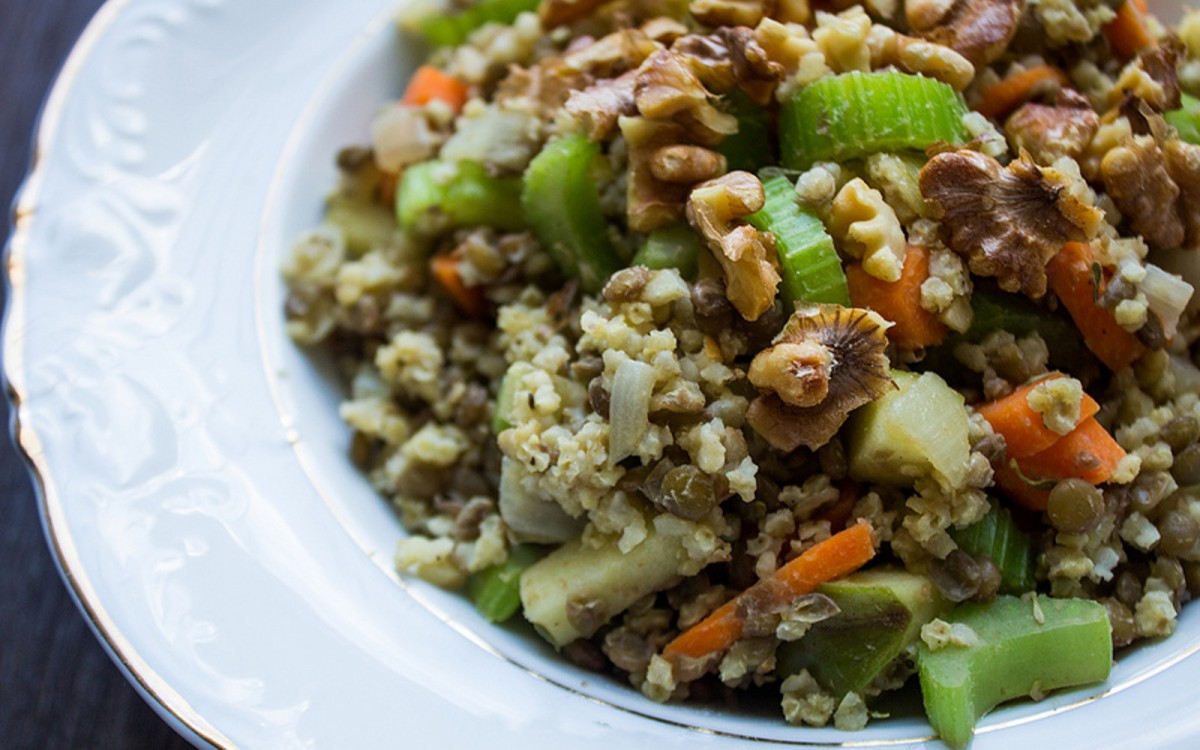Warm Lentil Walnut Apple Salad