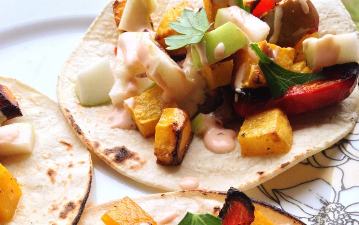 Roasted Butternut Squash Tacos With Crisp Apple and Chipotle-Lime Drizzle [Vegan]