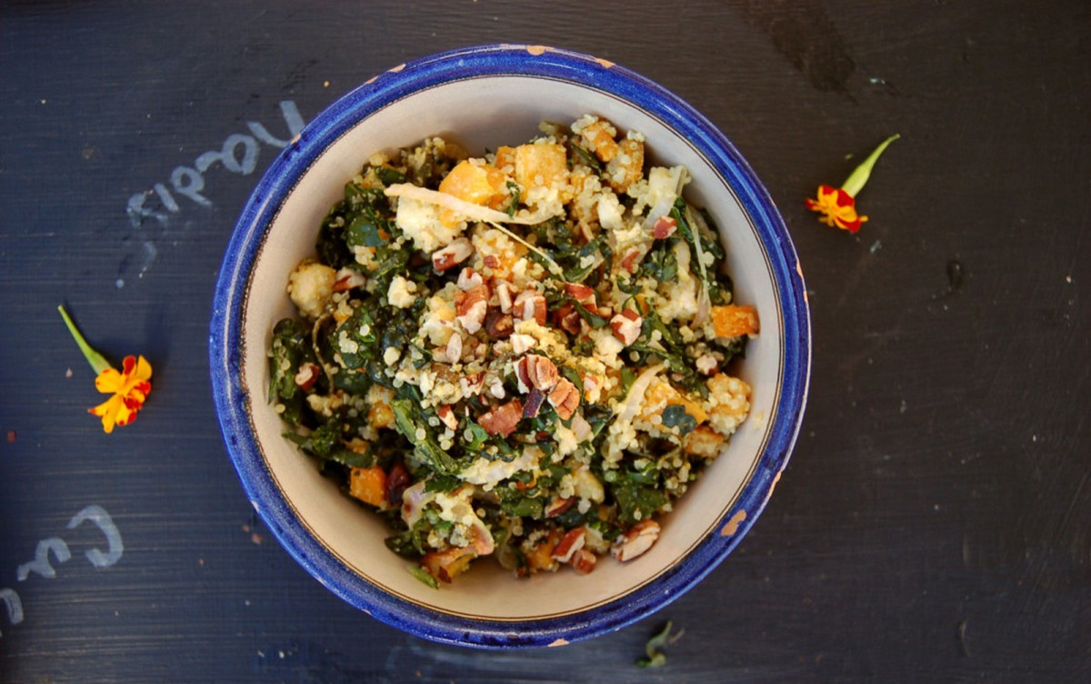 Orange Maple Butternut Squash and Tofu Salad [Vegan, Gluten-Free]