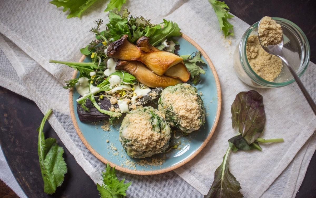 Fluffy Spinach Dumplings With Walnut Parmesan [Vegan]