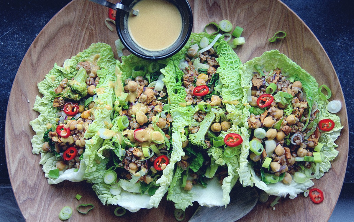 Wheat Berries and Mushroom-Filled Savoy Cabbage Boats With Mustard Miso Sauce [Vegan]