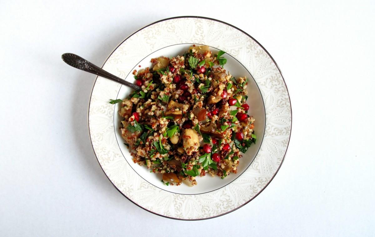 Pomegranate and Hazelnut Moroccan Grain Salad [Vegan, Gluten-Free]