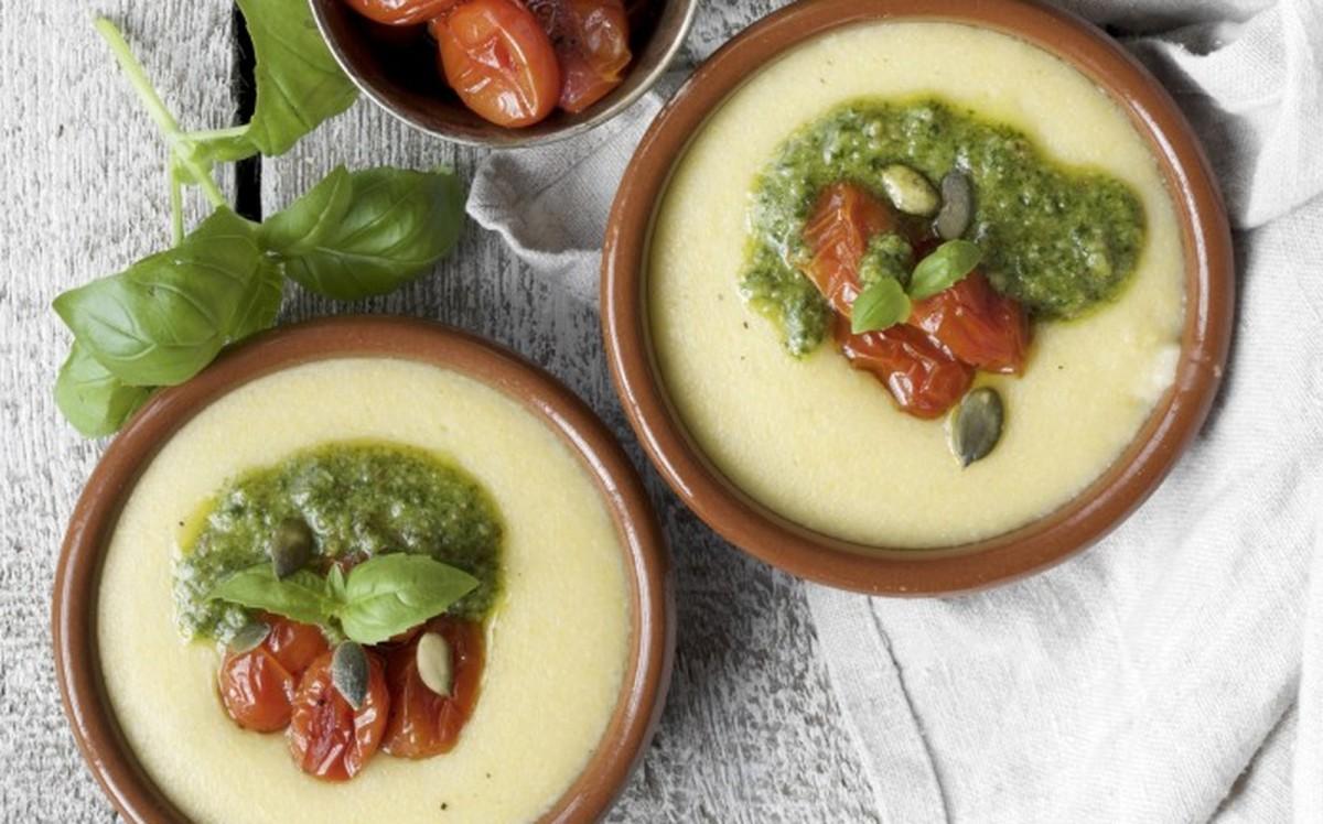 Creamy Polenta With Baked Cherry Tomatoes and Walnut Pesto [Vegan, Gluten-Free]