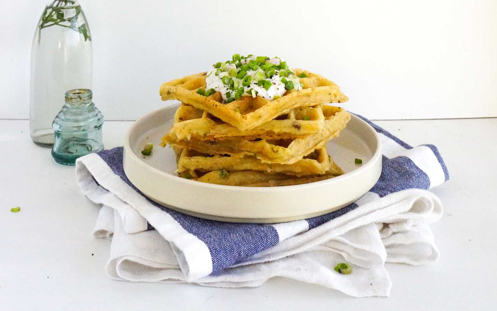 coconut milk spring onion and cheese waffles