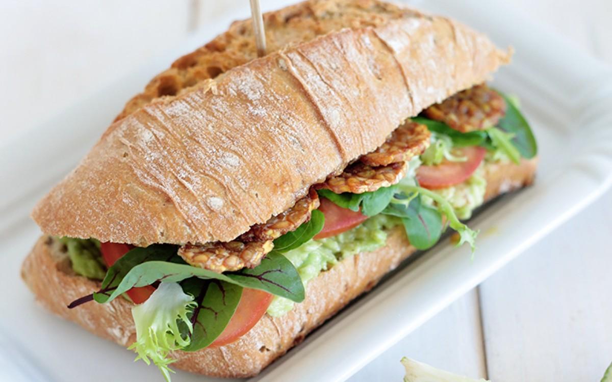 Avocado and Maple-Glazed Tempeh Sandwich